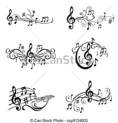 Music Note Drawings | of Musical Notes Illustration - in vector csp9124003 - Search Clip Art ...