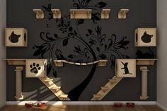 Katzen Kletterlandschaft Idee Baum Wandaufkleber #cat #design #ideas