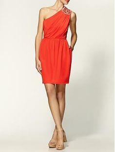 Shoshanna Embellished Alexis Silk Dress