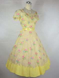 1950 1960 Samuel Winston By Roxane Vintage Yellow Voile Organza Dress w/ Floral Embroidery