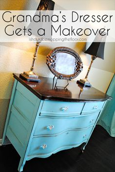 great blog tutorial: i should be mopping the floor: Refinishing Grandma's Dresser {Tutorial}