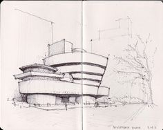 NY & Chicago Architecture Sketches on Behance Architecture Drawing Sketchbooks, Architecture Concept Drawings, Architecture Details, Classical Architecture, House Sketch, House Drawing, Arquitectura Logo, Building Sketch, Famous Architects