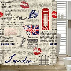 Angelwings Cheap Price Fashionable Designed Shower Curtains 72 X With Newspaper Restoring Ancient Ways Pattern