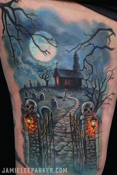 40 Must-See Tattoos For Halloween Graveyard tattoo by Jamie Lee Parker Future Tattoos, New Tattoos, Body Art Tattoos, Sleeve Tattoos, Cool Tattoos, Tattoo Sleeves, Tatoos, Halloween Horror, Halloween Art
