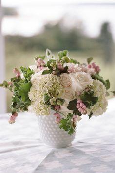 Bouquet in vintage milk glass