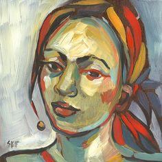 Woman with Half Smile Original Painting Oil on Panel door keelyart, $120.00
