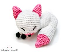 pink and white fox amigurumi by adorablykawaii