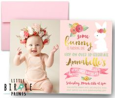 Bunny first birthday invitation  Some bunny by littlebirdieprints