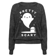 """Show that you're fresh to death with this adorable ghost shirt. This cute graphic tee features an illustration of a ghost rising from a grave and the phrase 'Pretty Scary."""""""