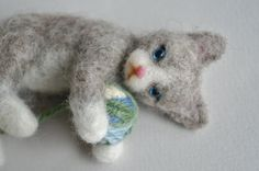 Wool Felted Gray Cat Kitten on Side Holding a Ball of Yarn - Needle Felted Cat with Blue Eyes - Wool Toy - Stocking Stuffer on Etsy, $40.00