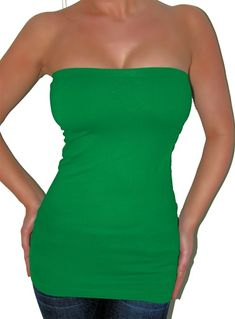 Sexy green basic longer length tube top is very stretchy and has a built in shelf bra for perfect shaping. Fabric is nylon/spandex. Great for St. Patrick's day wear, costume party, Earth Day. Perfect for layering. Layer with one of our other seamless tops as shown in third picture. Free ship in U.S.A.
