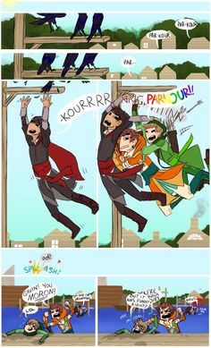 I'll be leaving for camp for two weeks now, so I feel it's a good idea to submit this Achievement Hunter/Assassin's Creed comic I drew before I leave; Assassins Creed Comic, Roosterteeth Rwby, Roster Teeth, Banana Bus Squad, Achievement Hunter, Parkour, Lets Play, Otaku Anime, Nerd