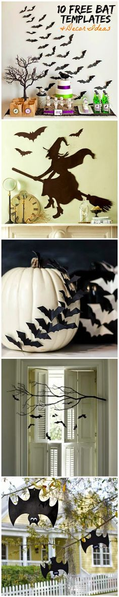 10 Free Printable Bat Templates and Halloween Decor Ideas! Love these. Halloween 2017, Spooky Halloween, Happy Halloween, Holidays Halloween, Halloween Costumes, Halloween Birthday, Halloween House, Halloween Templates, Free Halloween Printables