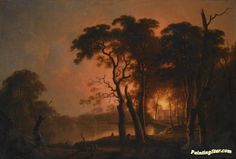A fire seen through trees Artwork by Joseph Wright of Derby Hand-painted and Art Prints on canvas for sale,you can custom the size and frame
