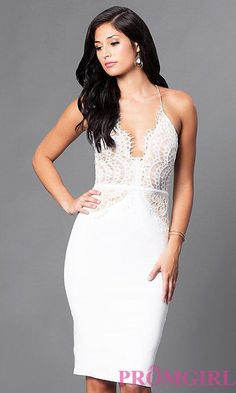 Shop form-fitting knee-length dresses at Simply Dresses. V-neck dresses and cocktail dresses with spaghetti straps and lace bodices for parties. V Neck Cocktail Dress, White Cocktail Dress, Cocktail Dresses, Elegant Dresses, Beautiful Dresses, Nice Dresses, Casual Dresses, Formal Dresses, Prom Dresses With Pockets