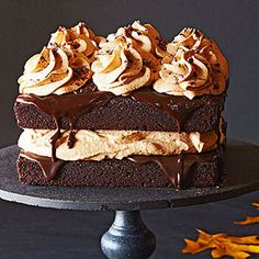 Chocolate Pumpkin Cake with Milk Chocolate Ganache & Pumpkin Whipped Cream Topping