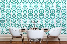 Wall Decal Flowers Floral Retro Mod Modern by WallStarGraphics, $150.00