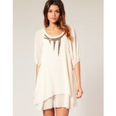 TFNC Antique Style Bead Embellished Layered Dress Light cream dress with dark brown beading. Super cute! ASOS Dresses