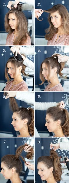 How to do a perfect high ponytail with a quiff - method with no back combing - remember to curl ends to give the ponytail volume...x