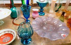 Art glass from Murano, Polish, applied, plus. Dahl Jensen bowl, Denmark c1928