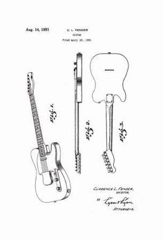 USA Patent Fender Telecaster Guitar & Deluxe Amp Drawings