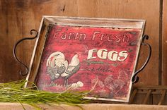 French Country Farmhouse Chic Primitive FRESH EGGS SERVING TRAY Chicken Rooster