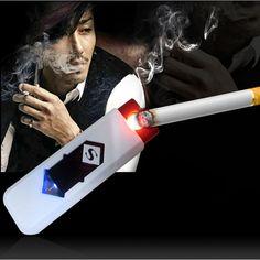 Windproof Rechargeable Cigarette Lighter Flameless Cigarette No Gas e-Lighter USB Lighter #shoes, #jewelry, #women, #men, #hats, #watches, #belts