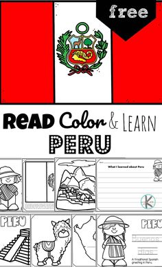 Discover the 3rd largest country in South America with the Amazon rainforest, Incan remains, llamas, and Machu Picchu with printable Peru coloring pages. Hands On Geography, Geography For Kids, Geography Activities, Pre K Activities, Flag Coloring Pages, Free Printable Coloring Pages, Coloring Pages For Kids, Free Worksheets For Kids, Reading Worksheets
