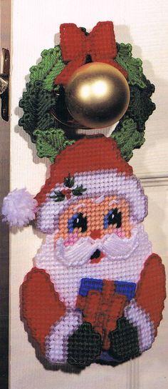 Christmas Santa Door Hanger Plastic Canvas E~Pattern - plastic canvas