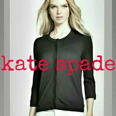 "Kate Spade ""Somerset"" Cardigan Bow appliqués and pointelle-detailed ribbing add a refreshing femininity signature to this adorable kate spade new york fitted crewneck cardigan. 3/4 sleeves and black w/silver shiny buttons add to this great wardrobe staple. Pair it with a simple crisp white t-shirt and jeans for casual weekend wear or top off a pencil skirt for a classy office look. You can't go wrong with this beauty.  23"" length. Cotton blend with cashmere Worn 2-3 times. EUC kate spade…"