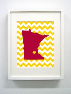Minneapolis Minnesota State Giclée Print  8x10  by PaintedPost, $15.00 #paintedpoststudio - University of Minnesota - Golden Gophers. What a great gift Idea! Perfect dorm decor!