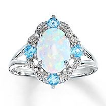 Sterling Silver Diamond & Lab-Created Opal Ring...have this, but from Reeds.  It doesn't look as pretty any more :(