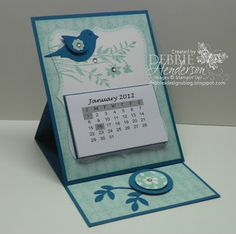 handmade card/calendar from Debbie's Designs ... monochromatic ... easel card format ... like the flower on the punched bird's wing ... Stampin' Up!