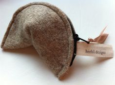 Fortune Cookie Change Purse natural wool eco friendly  sustainable renewable beige wool felt coin purse wallet.