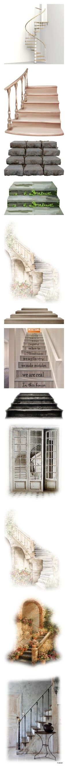 """""""Stairs"""" by mlkdmr ❤ liked on Polyvore featuring stairs, backgrounds, rooms, interiors, empty rooms, effect, borders, picture frame, fillers and garden"""