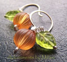 :: Crafty :: Bead :: Beautiful pumpkin earrings! #handmade #jewelry #earrings