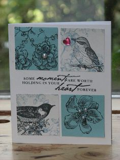 this is lovely, I can use my own bird and flower stamps for a similar card  from Franziska