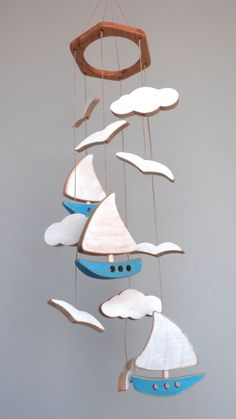 Wooden baby mobile baby room nursery birth gift boat clouds birds blue w Cool Baby, Wood Projects, Woodworking Projects, Wood Crafts, Diy And Crafts, Birth Gift, Diy Holz, Scroll Saw Patterns, Diy Décoration