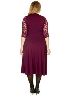 Clothing at Tesco | F&F True Lace Sleeve Jersey Plus Size Maxi Dress > dresses > Plus Size > Women