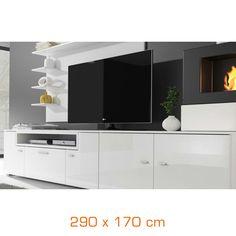Private sale of Composizione OLYMPO TV + pensili e caminetto - 290x170 cm - bianco on Brico Privé
