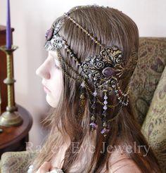 Art Nouveau Headdress Mucha Goddess Vintage Brass And Glass Raven Eve Jewelry 2012. $589.00, via Etsy.