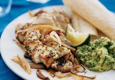 tacos de pollo con guacamole