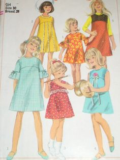 1960's Kids Pattern -- My mom made me so many dresses in styles like this #VintageKidsFashion Vintage Kids Fashion, 1960s Fashion, Vintage Girls, Girl Fashion, Vintage Outfits, Vintage Ads, Vintage Children, Sewing Patterns Girls, Kids Patterns