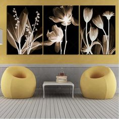 3 Pcs Painting Art Abstract Flowers Home Decor Canvas Print Modular Picturel Wall Pictures Decoration For Living Room Unframed