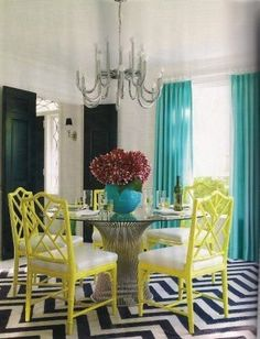 Love the lime green Chippendale chairs with the teal drapes, the combination is beautiful