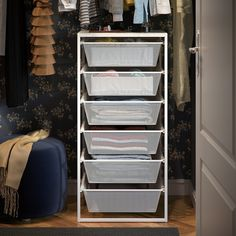 JONAXEL Frame with mesh baskets, 19 It can be difficult to keep things neat and tidy. JONAXEL storage system lets you utilize the spaces you have in smarter ways. Ikea Laundry Room, Laundry Room Baskets, Laundry Room Layouts, Basket Drawers, Storage Baskets, Storage Ideas, Neat And Tidy, Tidy Up, Cheap Closet