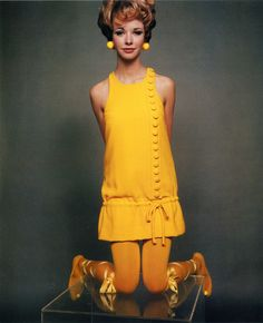 Maudie James in John Bates for Jean Varon Dress, photographed by David Bailey for Vogue, 1967