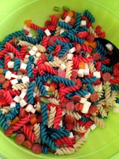 4th of July or Memorial Day pasta salad. Use red and blue food coloring in water when cooking the noodles.