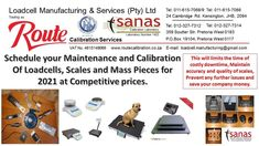 With the year building up and companies returning to work, time to get a jump start on the Calibration of Weighing Instrumentation. Spectrum of activities offered by Route: Loadcells from 1 kg to 400 Tonne Mass pieces from 1 mg to 1,5 tonne. All Scales from 1mg to 60 tonne. SANAS Accredited Calibration Laboratory Enquiries and FREE Quotations: Contact: +27 (11) 615-7068/88 JHB E-mail: loadcell.manufacturing@gmail.com or sales@routecalibration.co.za Return To Work, Tonne, Spectrum, Quotations, How To Get, Activities, Building, Free, Buildings