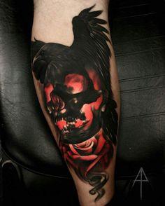 Resultado de imagen para tatuaje calavera y cuervo